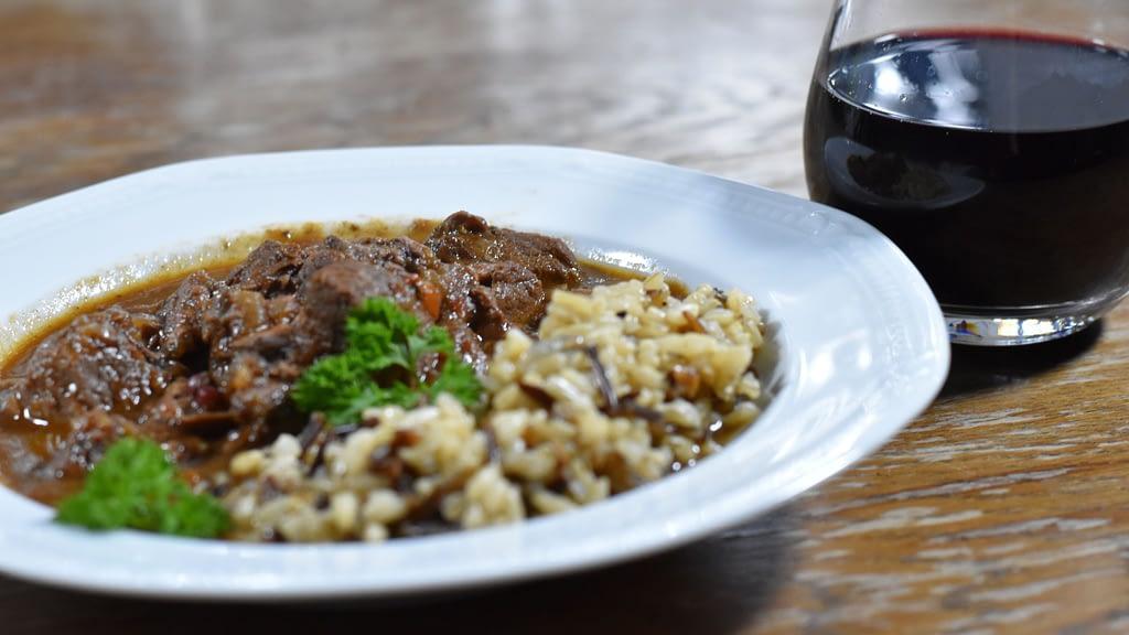 venison goulash with wild rice
